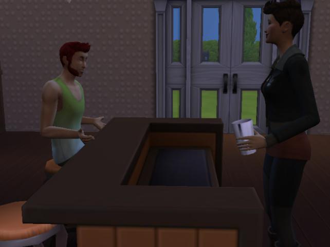 Evyn making drinks for Elijah
